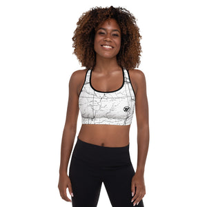WHITE-San Gabriel Map Sports Bra Front Mockup | TRVRS Outdoors hiking, trail running clothing, mountaineering apparel