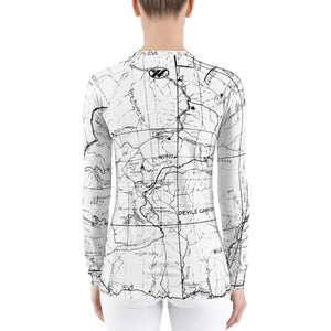 White, back- San gabriel Map Women's Base Layer | TRVRS Outdoors Hiking Apparel, Trail Running Clothing