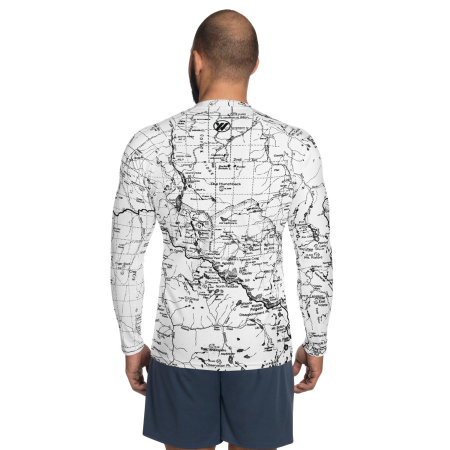 White, Sierra Nevada Map - All Over Print Men's Base Layer | TRVRS Outdoors Hiking Apparel, Trail Running Clothing