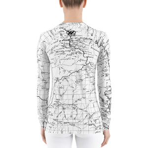 White, Back - Sierra Nevada Map Women's Base Layer | TRVRS Outdoors Hiking Clothing, Trail Running Apparel