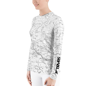 White Sierra Nevada Map Women's Base Layer | TRVRS Outdoors Hiking Clothing, Trail Running Apparel