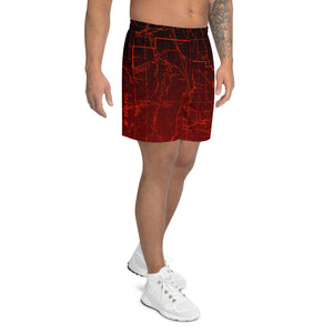Wildfire, San Gabriel Mountain Map - All Over Print Men's Athletic Shorts | TRVRS Outdoors, Hiking Apparel, Trail Running Clothing