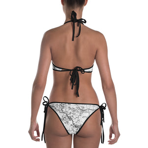 White, Back - Sierra Nevada Map Reversible Bikini | TRVRS Outdoors Hiking Apparel, Trail Running Apparel