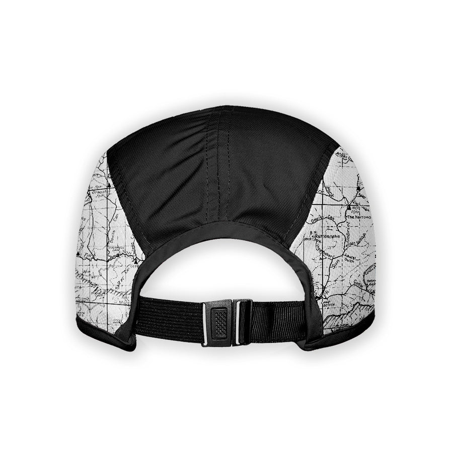 Front Left - San Gabriel Mountain Map 5 Panel Running Cap | TRVRS Outdoors