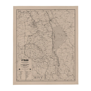 Sierra Nevada Map Throw Blanket - BEIGE