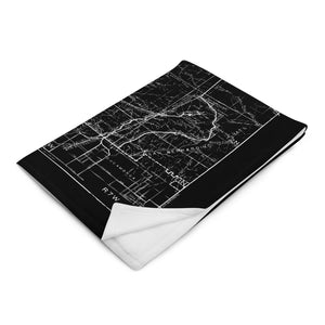 San Gabriel Map Throw Blanket - BLACK (Folded)