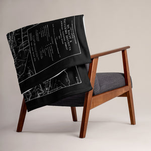 San Gabriel Map Throw Blanket - BLACK (Folded over chair)