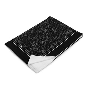 Sierra Nevada Map Throw Blanket - BLACK (Folded)