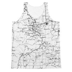 Unisex All Over Print Jersey Tank Top - BLACK/WHITE (SIERRA NEVADA MAP) | TRVRS Apparel