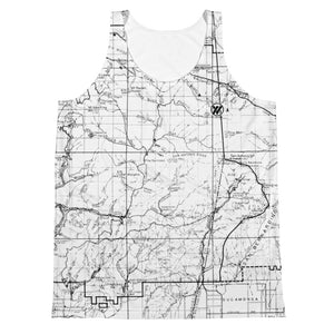 Unisex All Over Print Jersey Tank Top - BLACK/WHITE (ANGELES FOREST MAP) | TRVRS Apparel