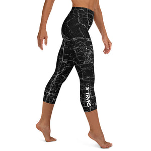 SIERRA NEVADA MAP-SAN GABRIEL MAP-BLACK-All Over Print Women's Capri Leggings | TRVRS Outdoors, Hiking, trail running, mountaineering apparel