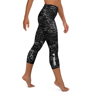 SIERRA NEVADA MAP-BLACK-All Over Print Women's Capri Leggings | TRVRS Outdoors, Hiking, trail running, mountaineering apparel