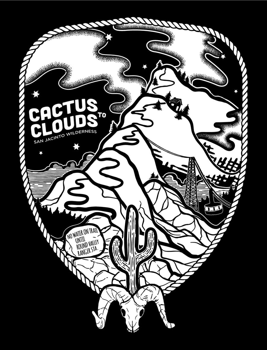 Cactus to Clouds Short Sleeve Tee -  oxblood black  | TRVRS Apparel San Jacinto Mountains Wilderness HIking Backpacking Mountaineering Trail running