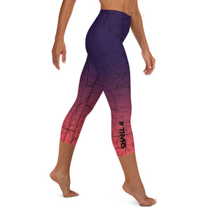 SAN GABRIEL MAP-COSMIC ROMANCE-All Over Print Women's Capri Leggings | TRVRS Outdoors, Hiking, trail running, mountaineering apparel