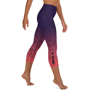 SIERRA NEVADA MAP-COSMIC ROMANCE-All Over Print Women's Capri Leggings | TRVRS Outdoors, Hiking, trail running, mountaineering apparel
