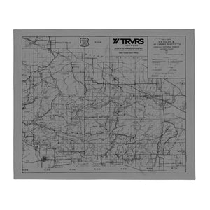 San Gabriel Map Throw Blanket - GRAY