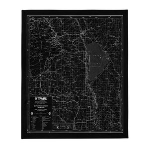 Sierra Nevada Map Throw Blanket - BLACK