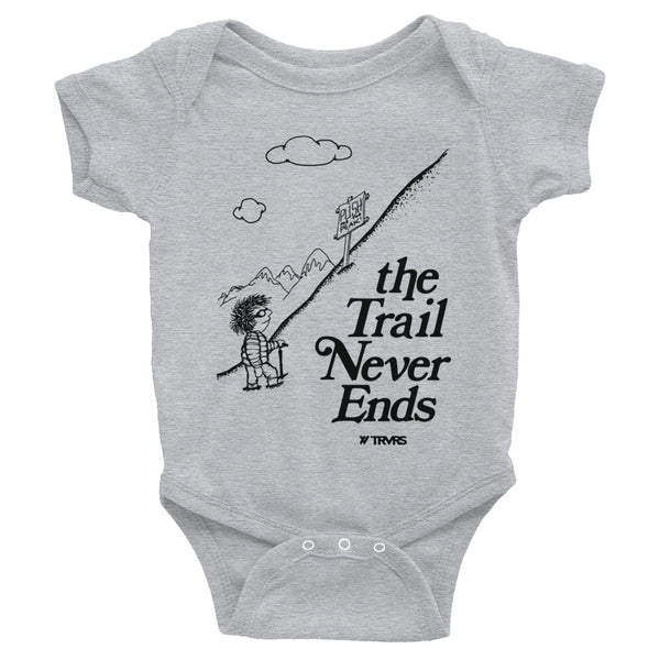 Trail Never Ends Infant Body Suit- GREY | TRVRS APPAREL