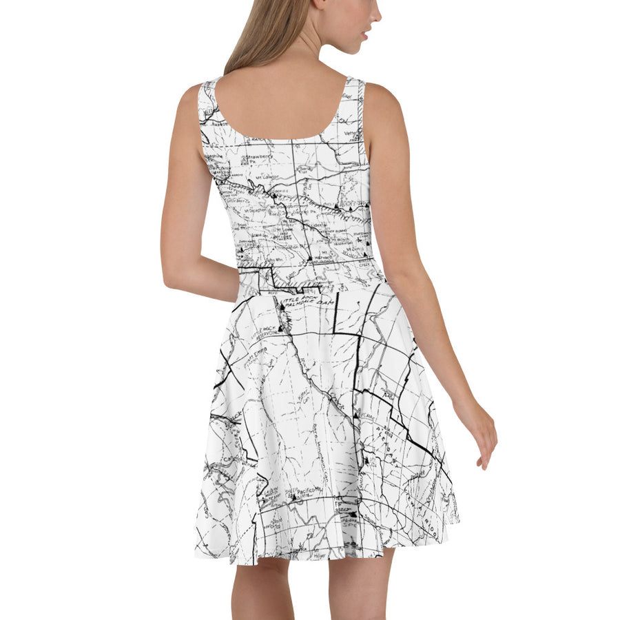White, San Gabriel Map Hiking Dress | TRVRS Outdoors Hiking Apparel, Trail Running Clothing