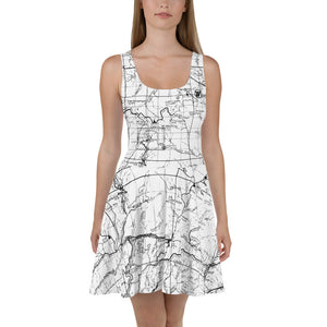 White, San Gabriel Map - All Over Print Hiking Dress | TRVRS Outdoors