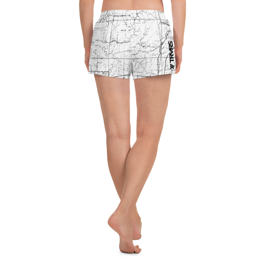 WHITE- San Gabriel map womens athletic shorts FRONT | TRVRS Outdoors trail running clothing hiking apparel