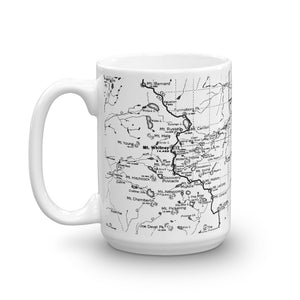 Mount Whitney Map Coffee Mug - 11oz (left) | TRVRS Apparel