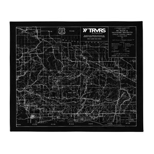 San Gabriel Map Throw Blanket - BLACK