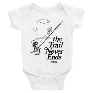 Trail Never Ends Infant Body Suit- WHITE | TRVRS APPAREL
