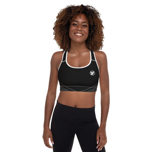 Front (white piping) - Topo Map Women's Sports Bra | TRVRS Outdoors Trail Running Clothing, Hiking Apparel