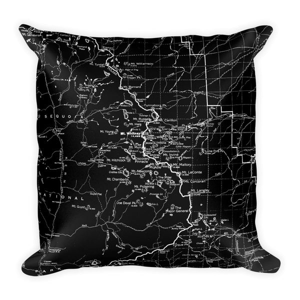Sierra Nevada Map Premium Throw Pillow (18x18) - BLACK | TRVRS APPAREL