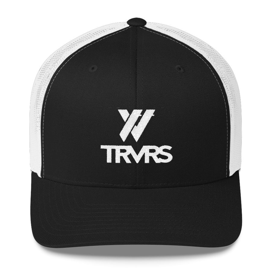 TRVRS Logotype Trucker - WHITE/BLACK | TRVRS APPAREL (San Gabriel Mountains, Sierra Nevada Mountains)