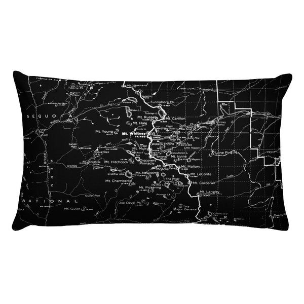Sierra Nevada Map Premium Throw Pillow (20x12) - BLACK | TRVRS APPAREL