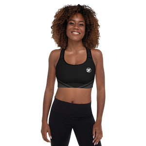 Front (Black piping) - Topo Map Women's Sports Bra | TRVRS Outdoors Trail Running Clothing, Hiking Apparel