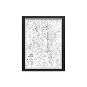 12x16- Mount Whitney District Map Framed Poster