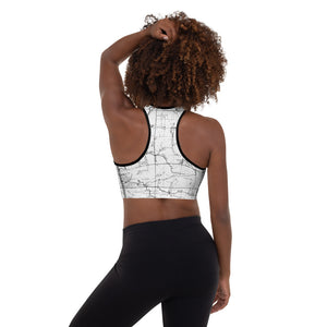 WHITE, model, back-San Gabriel Map Sports Bra Front Mockup | TRVRS Outdoors hiking, trail running clothing, mountaineering apparel