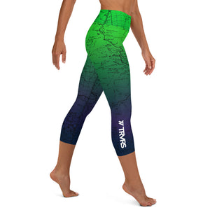 SIERRA NEVADA MAP-NORTHERN LIGHTS-All Over Print Women's Capri Leggings | TRVRS Outdoors, Hiking, trail running, mountaineering apparel