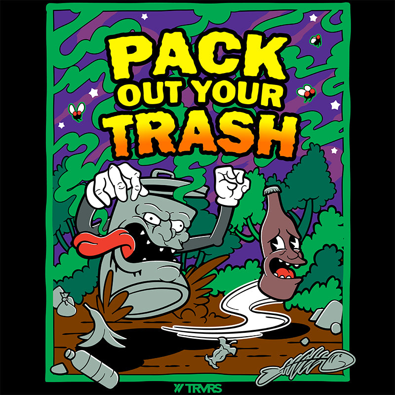 BLACK- Pack Out Your Trash Recycled SS Tee | TRVRS Outdoors