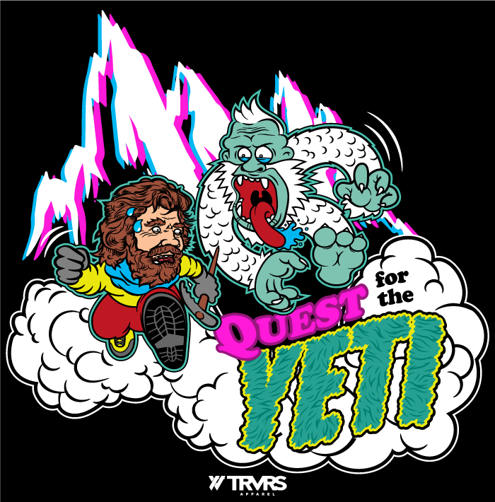 Quest for the Yeti Short Sleeve Tee - BLACK | TRVRS APPAREL (Himalayan Mountains, Tee Shirt, Reinhold Messner, My Quest For The Yeti, Sierra Nevada Mountains)