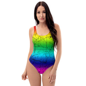 Rainbow - San Gabriel Map One Piece Swimsuit (front) | TRVRS Outdoors  Hiking, Trail Running, Clothing, Apparel
