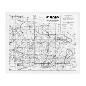 San Gabriel Map Throw Blanket - WHITE