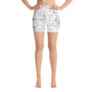SIERRA MAP-WHITE-All Over Print Women's Yoga Shorts | TRVRS Outdoors, Hiking, trail running, mountaineering apparel