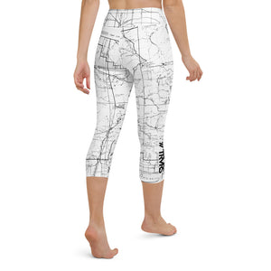 SAN GABRIEL MAP, back -WHITE-All Over Print Women's Capri Leggings | TRVRS Outdoors, Hiking, trail running, mountaineering apparel