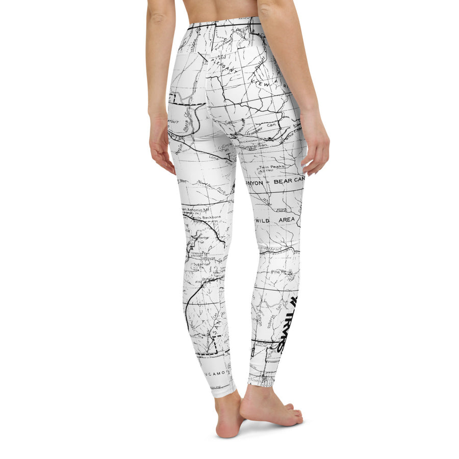 WHITE- San Gabriel Mountains Map-All Over Print Women's Leggings | TRVRS Outdoors, Hiking, trail running, mountaineering apparel