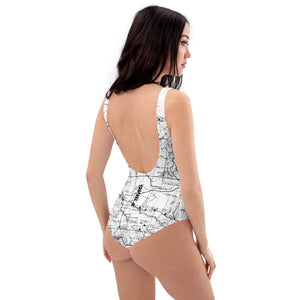 White - San Gabriel Map One Piece Swimsuit (front) | TRVRS Outdoors  Hiking, Trail Running, Clothing, Apparel