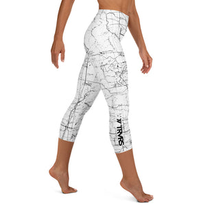 SAN GABRIEL MAP-WHITE-All Over Print Women's Capri Leggings | TRVRS Outdoors, Hiking, trail running, mountaineering apparel