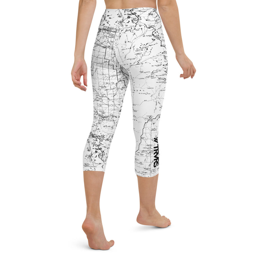 SIERRA NEVADA MAP-WHITE-All Over Print Women's Capri Leggings | TRVRS Outdoors, Hiking, trail running, mountaineering apparel