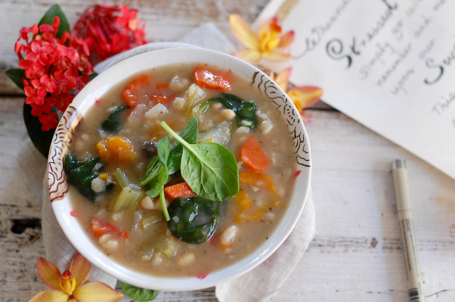 Roasted Bell Pepper and Barley Soup