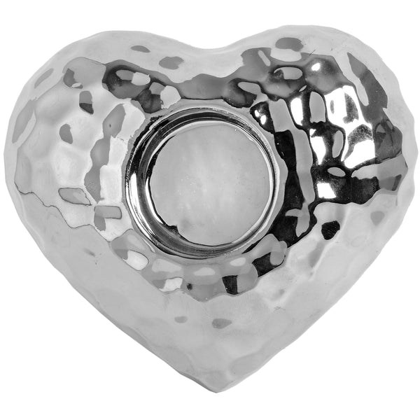 Love Heart Silver Dimple Effect Tea light Holder - Stylemypad