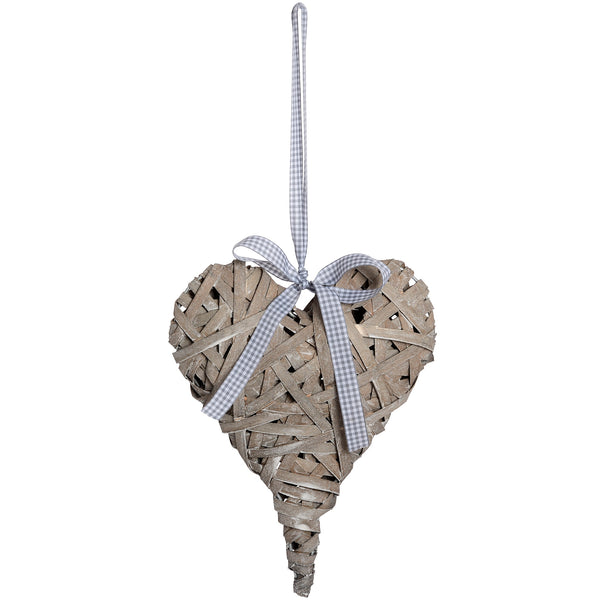 Washed Grey Woven Hanging Heart - Stylemypad