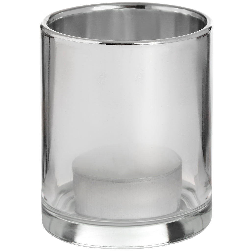 Smoked Silver Glass Tealight Holder - Stylemypad